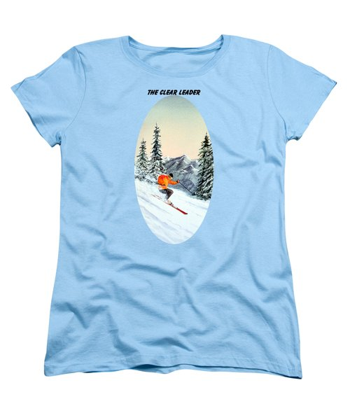 The Clear Leader Skiing Women's T-Shirt (Standard Cut) by Bill Holkham