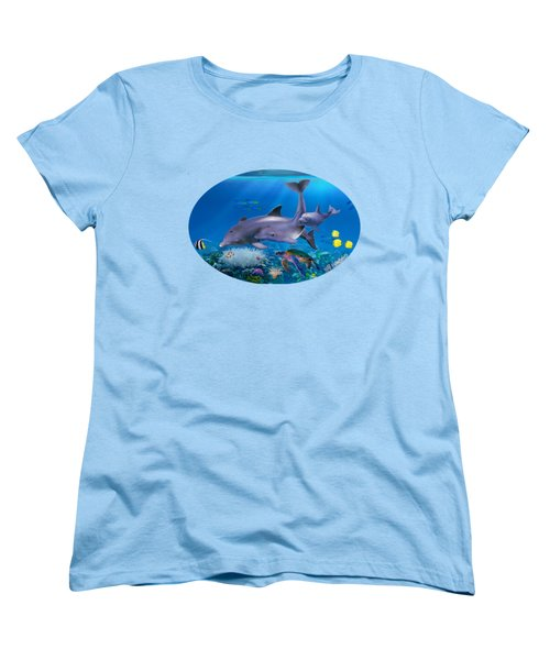 The Dolphin Family Women's T-Shirt (Standard Cut) by Glenn Holbrook