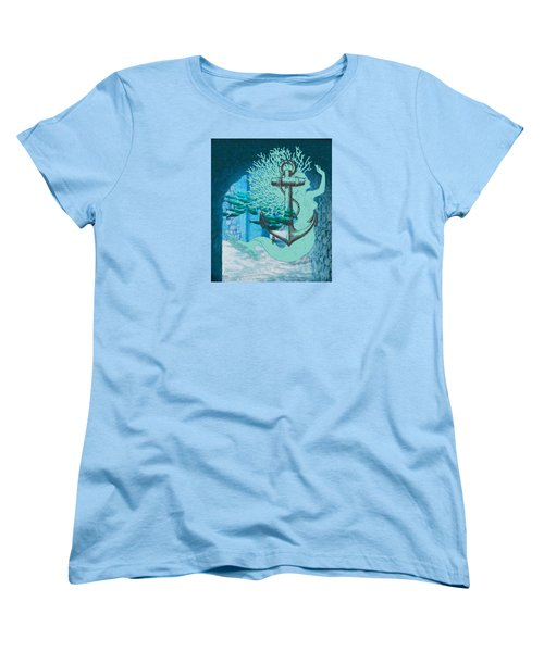 The Mermaid The Anchor And School Of Fish In The Underwater Ruins Women's T-Shirt (Standard Cut) by Sandra McGinley