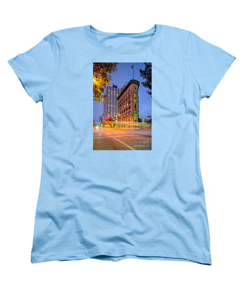 Twilight Photograph Of The Flatiron Building In Downtown Fort Worth - Texas Women's T-Shirt (Standard Cut) by Silvio Ligutti