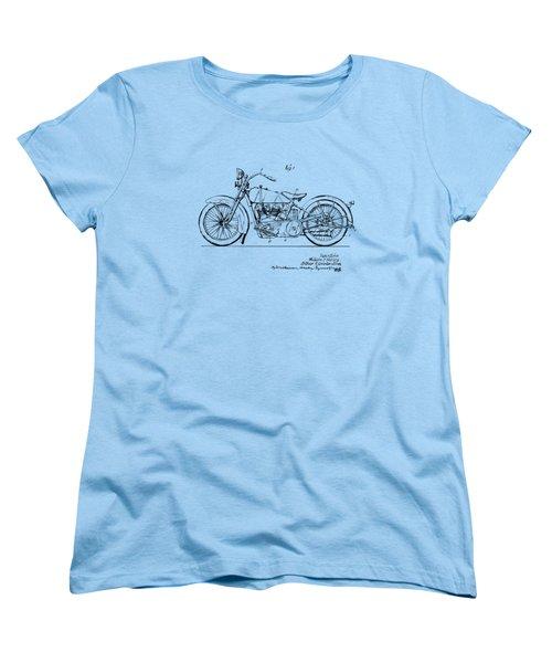 Vintage Harley-davidson Motorcycle 1928 Patent Artwork Women's T-Shirt (Standard Cut) by Nikki Smith