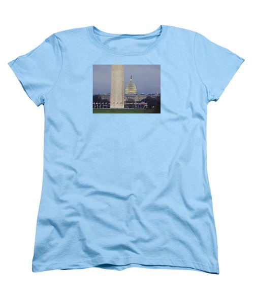 Washington Monument And United States Capitol Buildings - Washington Dc Women's T-Shirt (Standard Cut) by Brendan Reals