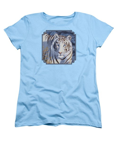 White Tiger - Crystal Eyes Women's T-Shirt (Standard Cut) by Crista Forest