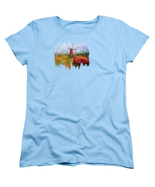 Windmill And Tulips Women's T-Shirt (Standard Cut) by Thom Zehrfeld