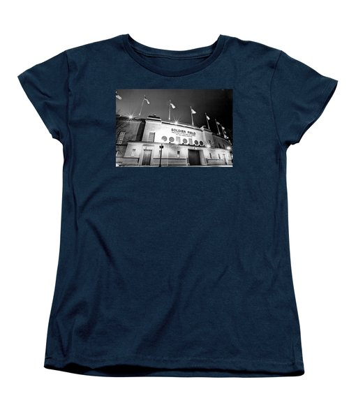 0879 Soldier Field Black And White Women's T-Shirt (Standard Cut) by Steve Sturgill