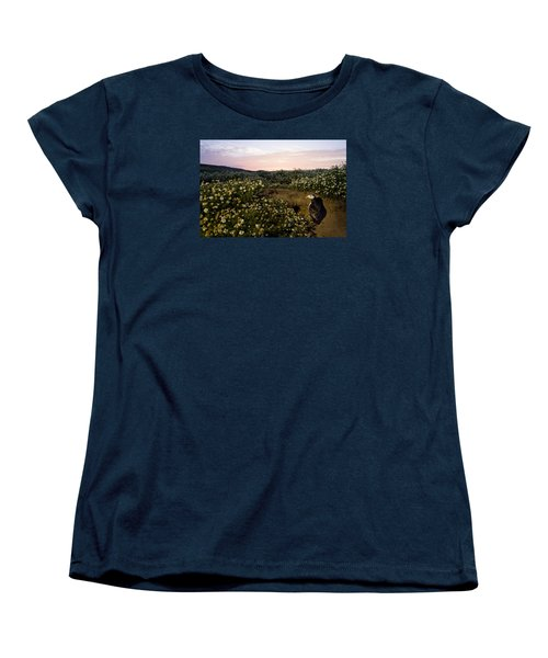Atlantic Puffin At Burrow Skomer Island Women's T-Shirt (Standard Cut) by Sebastian Kennerknecht