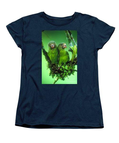 Cobalt-winged Parakeets Women's T-Shirt (Standard Cut) by Art Wolfe