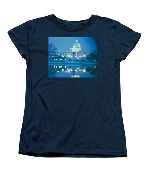 Government Building Lit Up At Night Women's T-Shirt (Standard Cut) by Panoramic Images