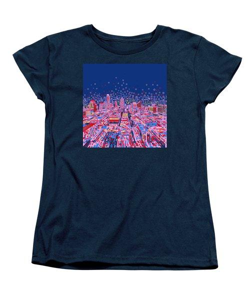 Austin Texas Abstract Panorama Women's T-Shirt (Standard Cut) by Bekim Art