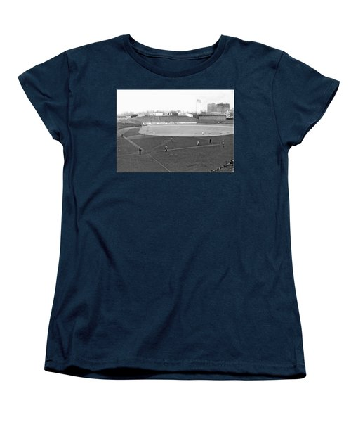 Baseball At Yankee Stadium Women's T-Shirt (Standard Cut) by Underwood Archives