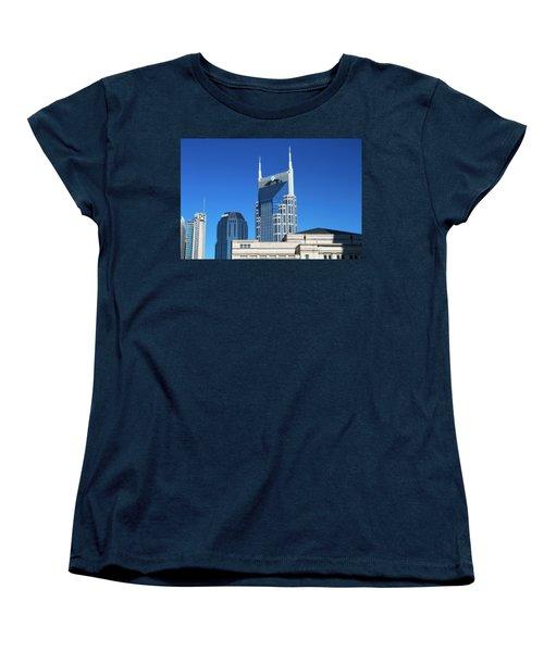 Batman Building And Nashville Skyline Women's T-Shirt (Standard Cut) by Dan Sproul