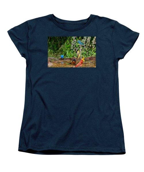 Birds Bathing Women's T-Shirt (Standard Cut) by Anthony Mercieca