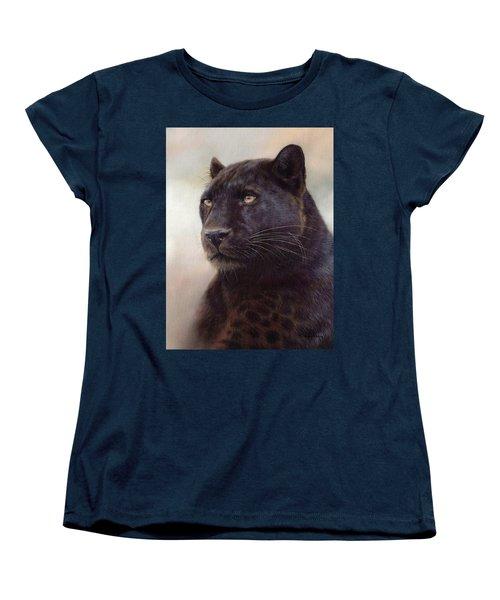Black Leopard Painting Women's T-Shirt (Standard Cut) by Rachel Stribbling