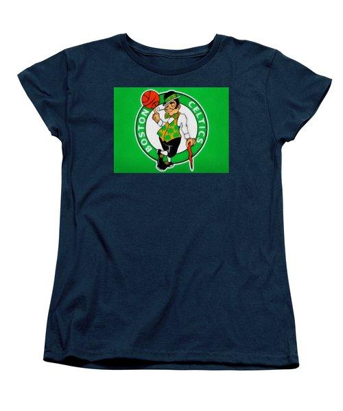 Boston Celtics Canvas Women's T-Shirt (Standard Cut) by Dan Sproul