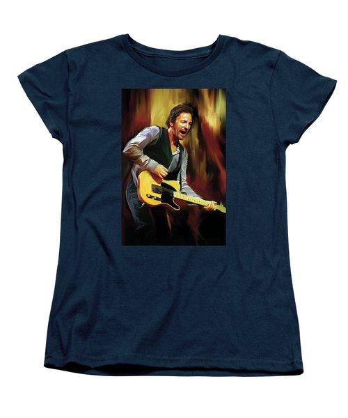 Bruce Springsteen Artwork Women's T-Shirt (Standard Cut) by Sheraz A