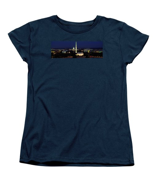 Buildings Lit Up At Night, Washington Women's T-Shirt (Standard Cut) by Panoramic Images