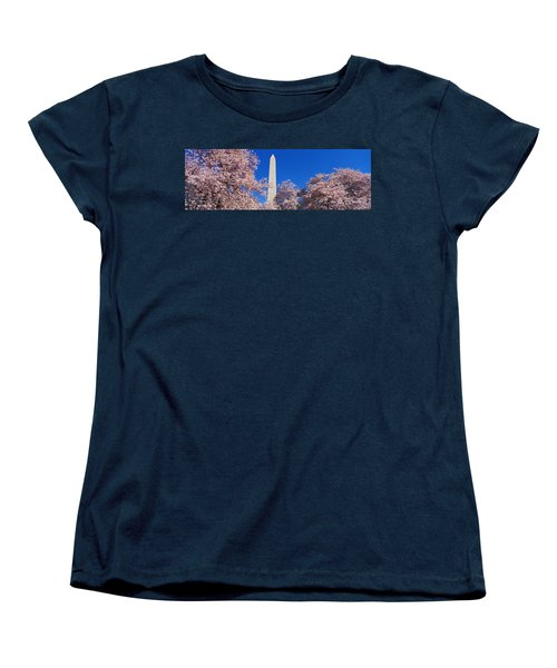 Cherry Blossoms Washington Monument Women's T-Shirt (Standard Cut) by Panoramic Images