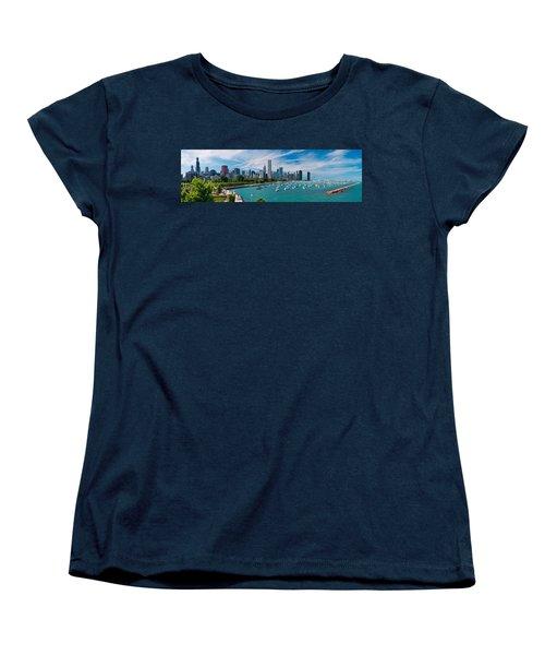 Chicago Skyline Daytime Panoramic Women's T-Shirt (Standard Cut) by Adam Romanowicz
