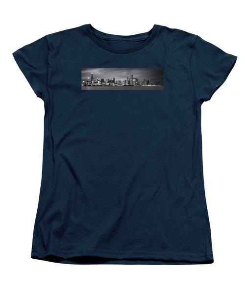 Chicago Skyline At Night Black And White Panoramic Women's T-Shirt (Standard Cut) by Adam Romanowicz