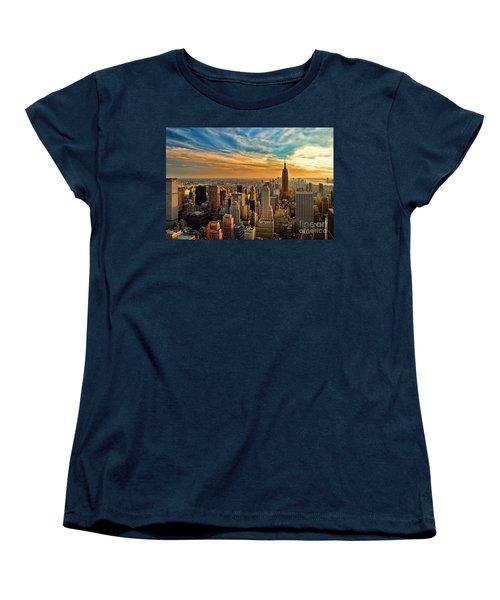 City Sunset New York City Usa Women's T-Shirt (Standard Cut) by Sabine Jacobs
