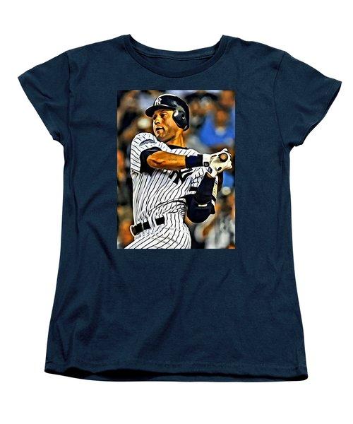 Derek Jeter In Action Women's T-Shirt (Standard Cut) by Florian Rodarte