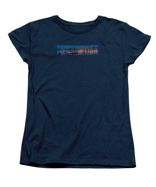 Elliott Bay Seattle Skyline Night Reflections  Women's T-Shirt (Standard Cut) by Mike Reid