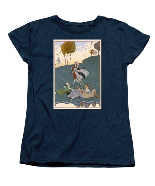 Fetes Galantes Women's T-Shirt (Standard Cut) by Georges Barbier