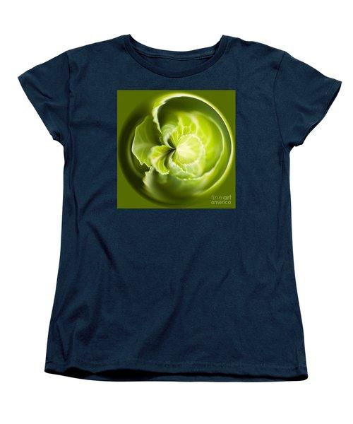 Green Cabbage Orb Women's T-Shirt (Standard Cut) by Anne Gilbert