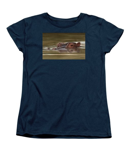 Hippo Painting Women's T-Shirt (Standard Cut) by Rachel Stribbling