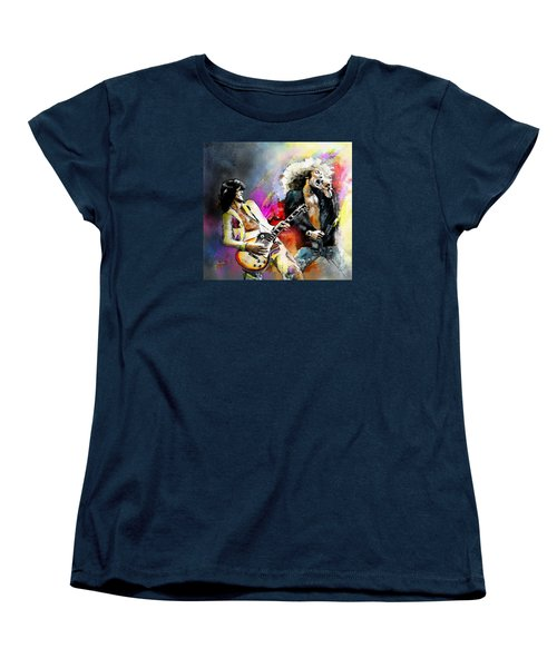 Jimmy Page And Robert Plant Led Zeppelin Women's T-Shirt (Standard Cut) by Miki De Goodaboom