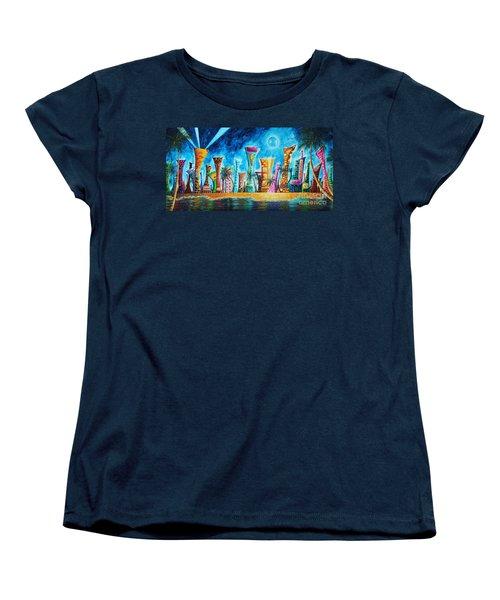 Miami City South Beach Original Painting Tropical Cityscape Art Miami Night Life By Madart Absolut X Women's T-Shirt (Standard Cut) by Megan Duncanson