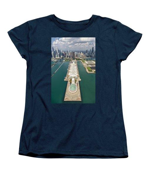Navy Pier Chicago Aerial Women's T-Shirt (Standard Cut) by Adam Romanowicz