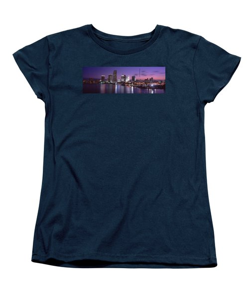 Night Skyline Miami Fl Usa Women's T-Shirt (Standard Cut) by Panoramic Images