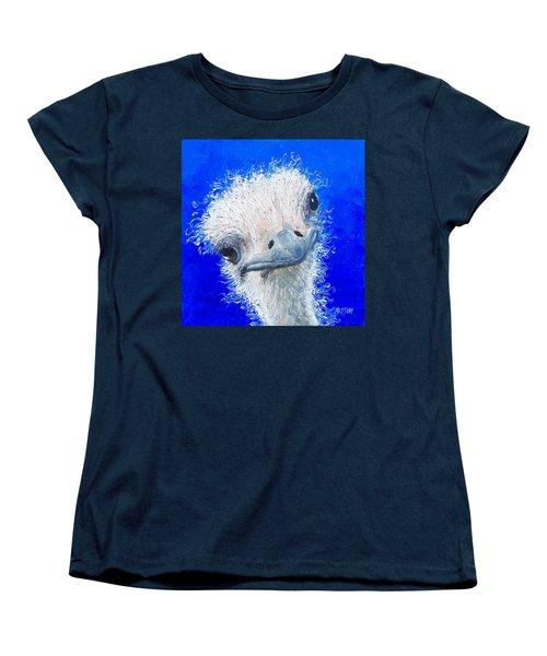 Ostrich Painting 'waldo' By Jan Matson Women's T-Shirt (Standard Cut) by Jan Matson