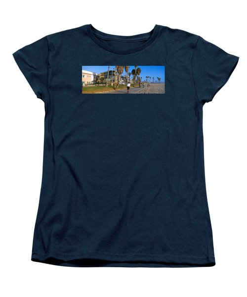 People Riding Bicycles Near A Beach Women's T-Shirt (Standard Cut) by Panoramic Images