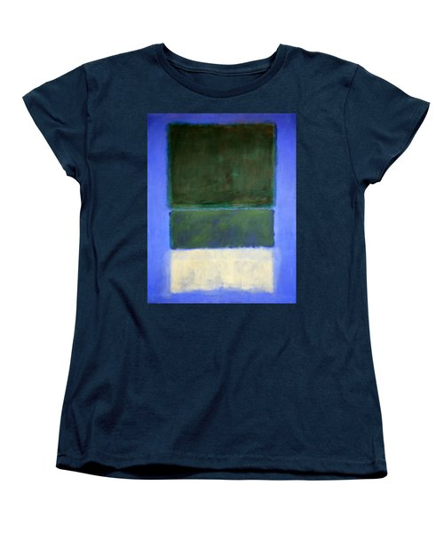 Rothko's No. 14 -- White And Greens In Blue Women's T-Shirt (Standard Cut) by Cora Wandel