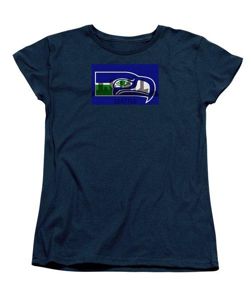 Seattle Seahawks On Seattle Skyline Women's T-Shirt (Standard Cut) by Dan Sproul