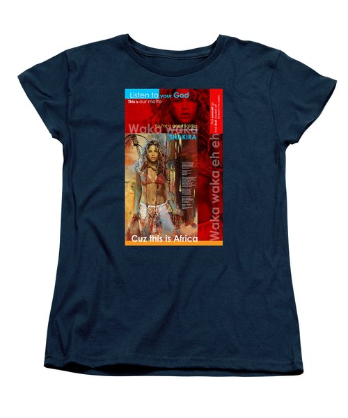 Shakira Art Poster Women's T-Shirt (Standard Cut) by Corporate Art Task Force