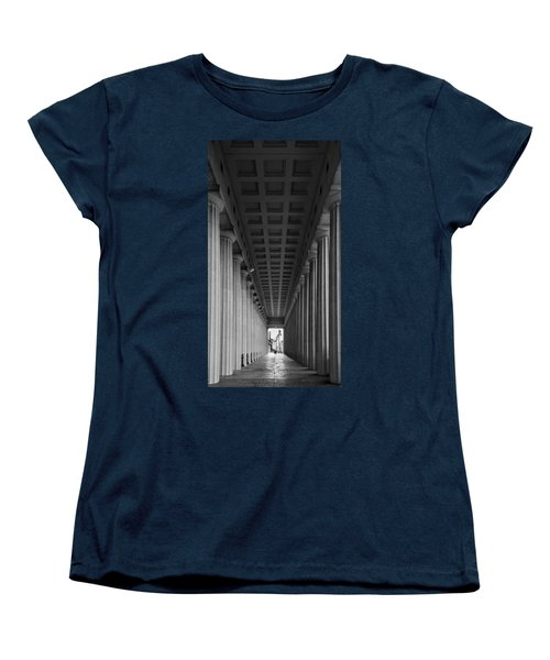 Soldier Field Colonnade Chicago B W B W Women's T-Shirt (Standard Cut) by Steve Gadomski