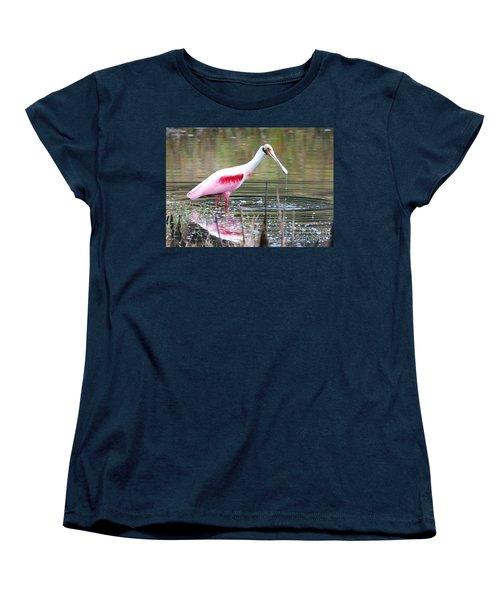 Spoonbill In The Pond Women's T-Shirt (Standard Cut) by Carol Groenen