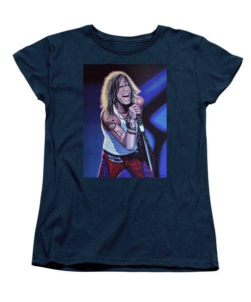 Steven Tyler Of Aerosmith Women's T-Shirt (Standard Cut) by Paul Meijering
