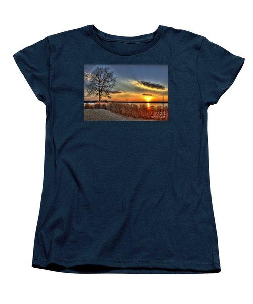 Sunset Sawgrass On Lake Oconee Women's T-Shirt (Standard Cut) by Reid Callaway