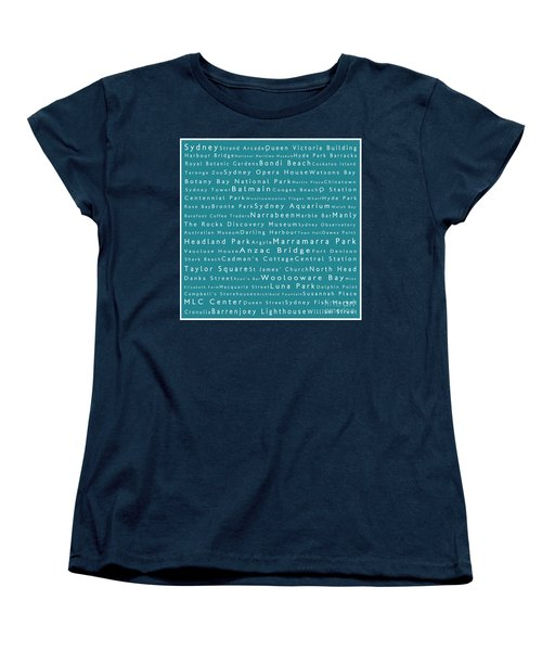 Sydney In Words Teal Women's T-Shirt (Standard Cut) by Sabine Jacobs