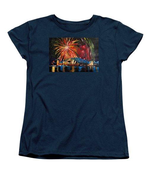 Sydney Silvester Fireworks At New Year Women's T-Shirt (Standard Cut) by M Bleichner