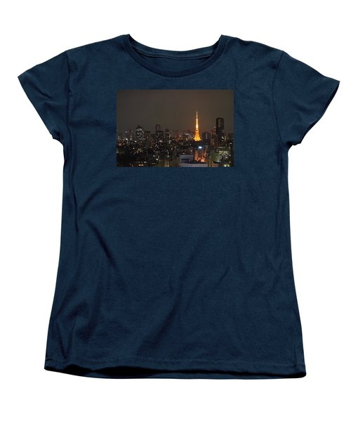Tokyo Skyline At Night With Tokyo Tower Women's T-Shirt (Standard Cut) by Jeff at JSJ Photography