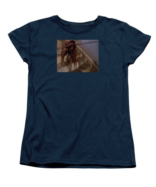 Women's T-Shirt (Standard Cut) featuring the photograph Varanasi Hair Wash by Travel Pics