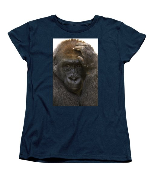 Western Lowland Gorilla With Hand Women's T-Shirt (Standard Cut) by San Diego Zoo