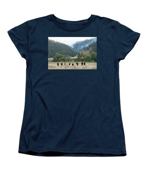 Women's T-Shirt (Standard Cut) featuring the photograph Wyoming Hot Shots Walk To Their Assignment by Bill Gabbert