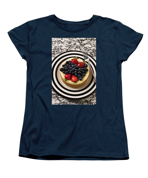 Cheese Cake On Black And White Plate Women's T-Shirt (Standard Cut) by Garry Gay