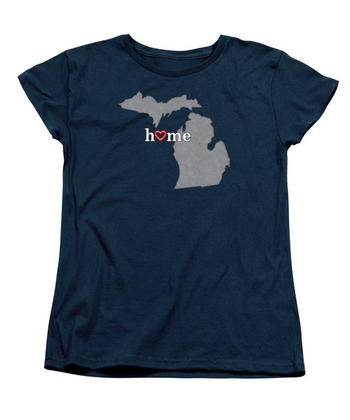 State Map Outline Michigan With Heart In Home Women's T-Shirt (Standard Cut) by Elaine Plesser